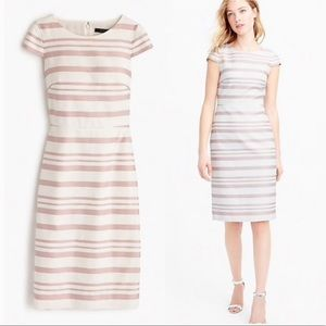 J. Crew White/Pink Stripe Dress